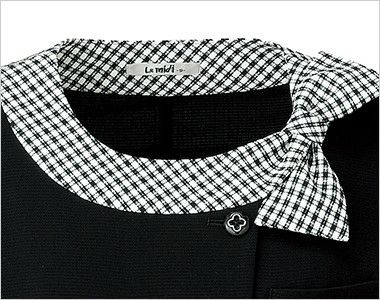 LJ0746 BONMAX/アミティエ ソフトジャケット 無地×チェック 上品で可愛い印象の衿部分