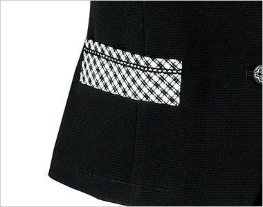 LJ0746 BONMAX/アミティエ ソフトジャケット 無地×チェック 箱ポケット付き