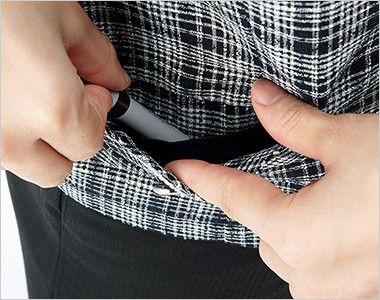 [在庫限り/返品交換不可]LJ0752 BONMAX/プランセス ソフトジャケット(シフォンリボン付き) チェック 箱ポケット(右側小分けポケットつき)