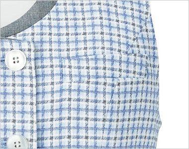[在庫限り/返品交換不可]LV1750 BONMAX/アミカル ベスト チェック ラウンドネック ポケット付き
