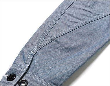 Lee LWB06001 ジップアップジャケット(男性用) 立体的な3枚袖仕様で、調節可能なボタン付き