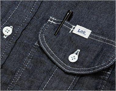 Lee LWS46001 メンズワーク長袖シャツ(男性用) ポケットにあるペン挿し口