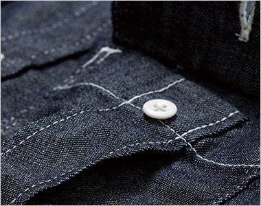 Lee LWS46001 メンズワーク長袖シャツ(男性用) プリーツ入りで立体的なLee象徴的な胸ポケット