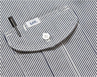 Lee LWS46002 メンズワーク半袖シャツ(男性用) プリーツ入りで立体的なLee象徴的な胸ポケット