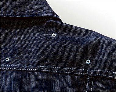 Lee LWU39001 [通年]ユニオンオール(長袖ツナギ)(男女兼用) 肩ヨークにある通気用の菊穴