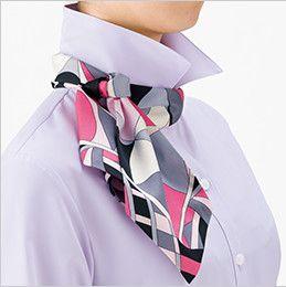 BONMAX RB4156 [通年]リーズナブルな長袖ブラウス スカーフループ付き 後ろ部分のスカーフを前に持ってきて、立てていた衿を戻し、整えて完成