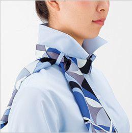 BONMAX RB4157 [通年]背中がニット地 着用時のストレスを軽減する『もっとすごい』長袖ブラウス ループにスカーフを通します