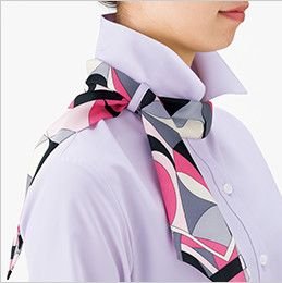 RB4700 BONMAX/リサール リーズナブルな七分袖ブラウス スカーフループ付き ループにスカーフを通します