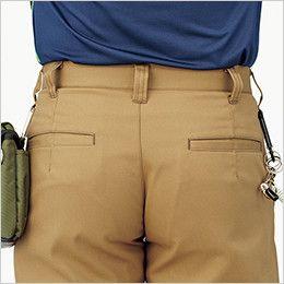 RP6909 ROCKY ノータックカーゴパンツ(男女兼用) ツイル ベルト通しは、カラビナなどを装着できるダブルループ仕様