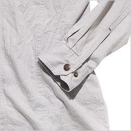 RS4301 ROCKY スタンドカラーシャツ(女性用) おしゃれなヴィンテージ感あるボタン