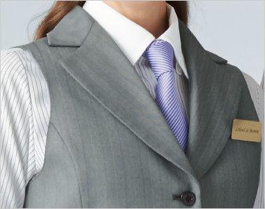 15216 BONUNI(ボストン商会) ベスト(女性用) グレースヘリンボーン ノッチドラペルの定番の襟元