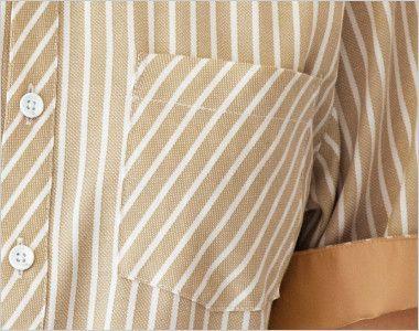 23303 BONUNI(ボストン商会) ボタンダウンシャツ/半袖(男女兼用) ストライプ ポケット
