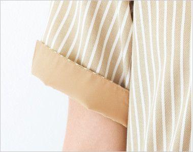 23303 BONUNI(ボストン商会) ボタンダウンシャツ/半袖(男女兼用) ストライプ 折返し可能な袖部分