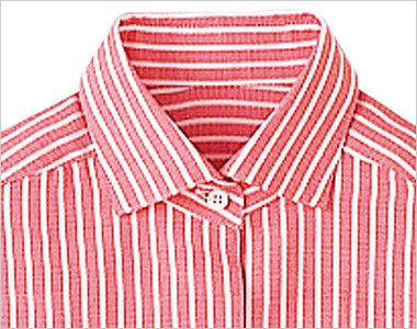 24211 BONUNI(ボストン商会) シャツ/七分袖(女性用) ストライプ 2way襟のボタンを留めてきちんとした印象