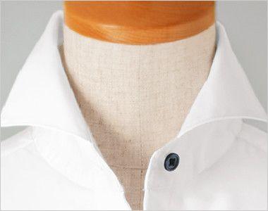 24215 BONUNI(ボストン商会) ホリゾンタルカラーシャツ/長袖(女性用) 大きく開いたホリゾンカラーの襟元