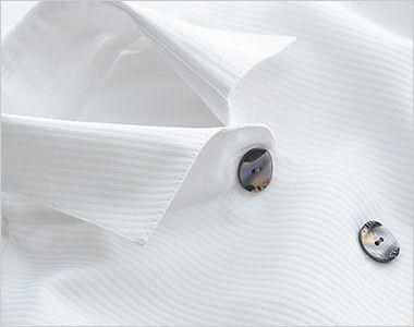 24218 BONUNI(ボストン商会) Tブラウス/五分袖(女性用) ストライプ 光の反射で色が変化するオシャレなボタン
