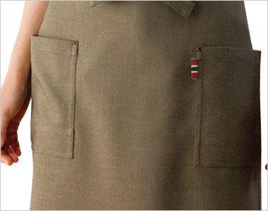 27314 BONUNI(ボストン商会) 前掛けミドルエプロン(男女兼用) シャンブレー ポケット
