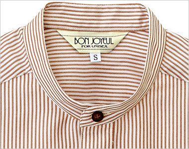 33302 BONUNI(ボストン商会) スタンドカラーシャツ/半袖(男女兼用)ストライプ スタンドカラー