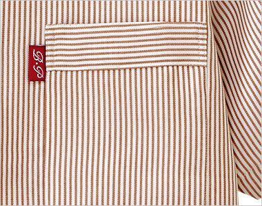 33302 BONUNI(ボストン商会) スタンドカラーシャツ/半袖(男女兼用)ストライプ ポケット
