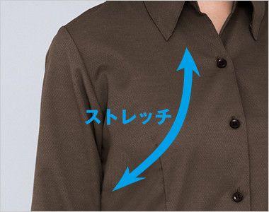 34207 BONUNI(ボストン商会) ベルカラーシャツ/七分袖(女性用) ストレッチ素材