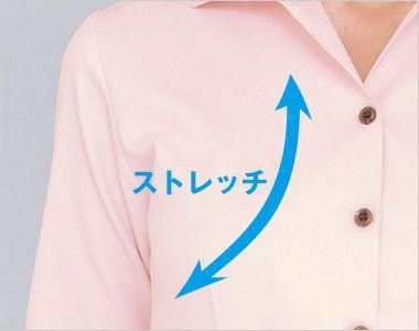 34208 BONUNI(ボストン商会) イタリアンカラーシャツ/七分袖(女性用) ストレッチ素材