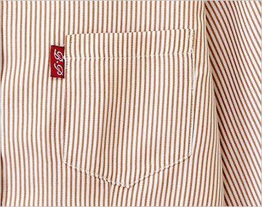 34301 BONUNI(ボストン商会) スタンドカラーシャツ/七分袖(男女兼用)ストライプ ポケット