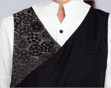 47201 BONUNI(ボストン商会) 家紋柄和風胸当てエプロン(女性用) 家紋柄を施した襟元