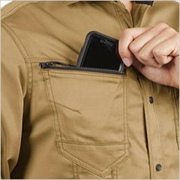 バートル 1715 T/Cライトチノ長袖シャツ(JIS T8118適合)(男女兼用) ファスナー付きポケット