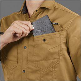 バートル 1715 T/Cライトチノ長袖シャツ(JIS T8118適合)(男女兼用) レベルブック収納ポケット付き(深さ20cm)