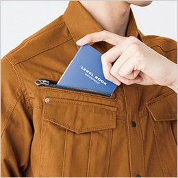 バートル 5505 綿100%チノクロス長袖シャツ(男女兼用) 野帳収納ポケット