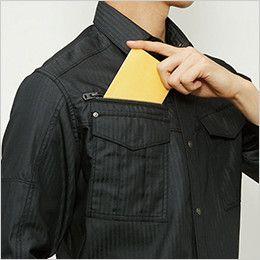 バートル 5515HB ヘリンボーン長袖シャツ(男女兼用) レベルブック収納ポケット