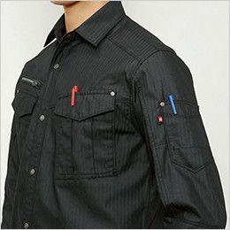 バートル 5515HB ヘリンボーン長袖シャツ(男女兼用) ペンさし・ペンポケット