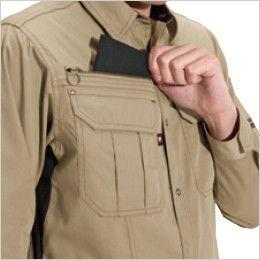バートル 6103 [春夏用]制電T/Cライトチノ長袖シャツ(男女兼用)  レベルブック収納ポケット