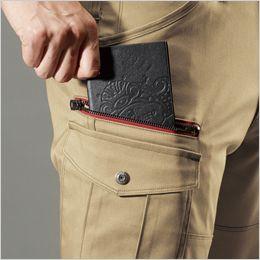 バートル 7052 [秋冬用]T/Cストレッチツイルカーゴパンツ(男女兼用) 長財布レベルブック収納ポケット