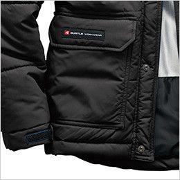 バートル 7510 [秋冬用]リップクロス防寒ジャケット(大型フード付)(男女兼用) 二重のウォームアップポケット(ブランドネームは右ポケットのみ)
