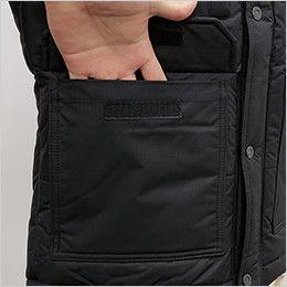 バートル 7510 [秋冬用]リップクロス防寒ジャケット(大型フード付)(男女兼用) 物が落ちにくいフラップ付ポケット
