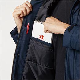 バートル 8210 [秋冬用]ヒータージャケット(大型フード付き)(男女兼用) 内ポケット、内ペンポケット
