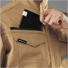 バートル 9071R [秋冬用]ストレッチツイル長袖ジャケット(JIS T8118適合)(男女兼用) レベルブック収納ポケット(深さ:21cm)