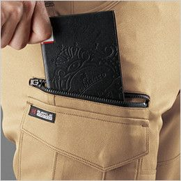 バートル 9072R ストレッチツイルカーゴパンツ 長財布、レベルブック収納ポケット(深さ:23cm)