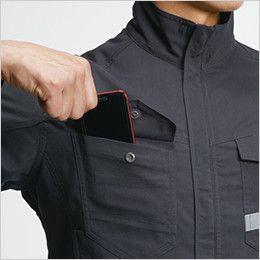 バートル 9091 [春夏用]ストレッチ制電長袖ジャケット(男女兼用) スマートフォン収納ループ