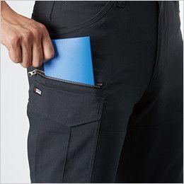 バートル 9092 [春夏用]ストレッチ制電カーゴパンツ(JIS T8118適合)(男女兼用) 長財布・野帳(レベルブック)収納ポケット(深さ23cm)