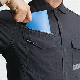 バートル 9095 [春夏用]ストレッチ長袖シャツ(JIS T8118適合)(男女兼用) 野帳(レベルブック)が入る大容量ポケット(深さ21cm)