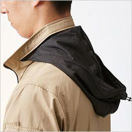 バートル AC1111PSET-B エアークラフト 迷彩 長袖ジャケット(男女兼用) ポリ100%  収納式フード(スピンドル付き)(全色ブラック)