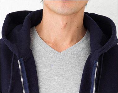 極厚裏起毛 スウェットフルジップパーカー(12.0オンス)(男女兼用) 衿部分