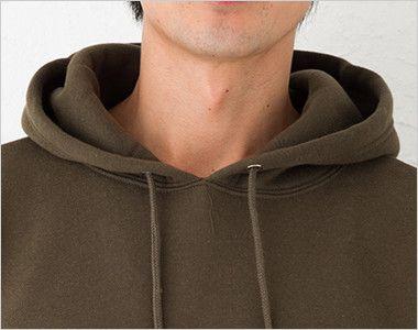 裏起毛 CVC スウェット プルオーバー パーカー(10.0オンス)(男女兼用) 衿部分
