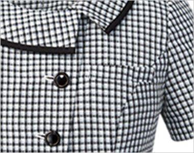 アルファピア AR1668 [春夏用]チェック柄・オーバーブラウス [高通気] 左胸ポケット