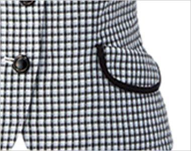 アルファピア AR1668 [春夏用]チェック柄・オーバーブラウス [高通気] フラップ付き両脇ポケット
