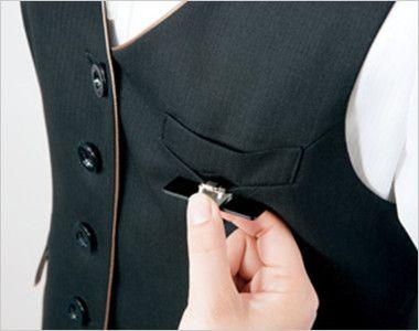 AR2840 アルファピア [秋冬用]4つボタン・ベスト ミニヘリンボーン 名札ホール付き左胸ポケット