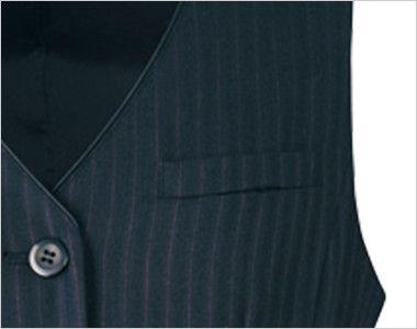 アルファピア AR2847 [通年]ストライプ地のベスト 名札ホール付き左胸ポケット