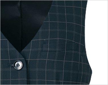 アルファピア AR2849 ベスト チェック 名札ホール付き左胸ポケット